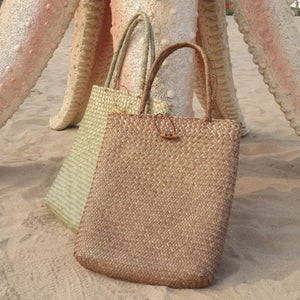 Hand Woven Straw Tote Bag Rattan Bags Loom Rack