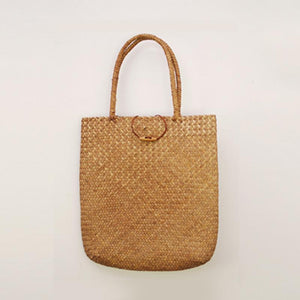 Hand Woven Straw Tote Bag Rattan Bags Loom Rack Brown