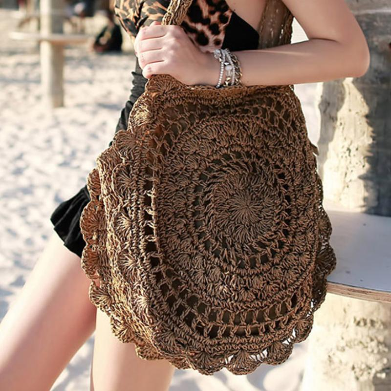 Handmade Knitted Big Round Beach Bag Rattan Bags Loom Rack