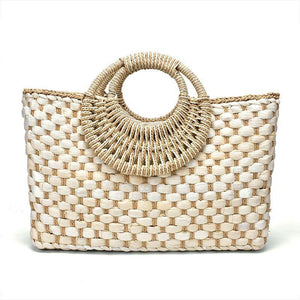 Handwoven Basket Bag Rattan Bags Loom Rack Beige