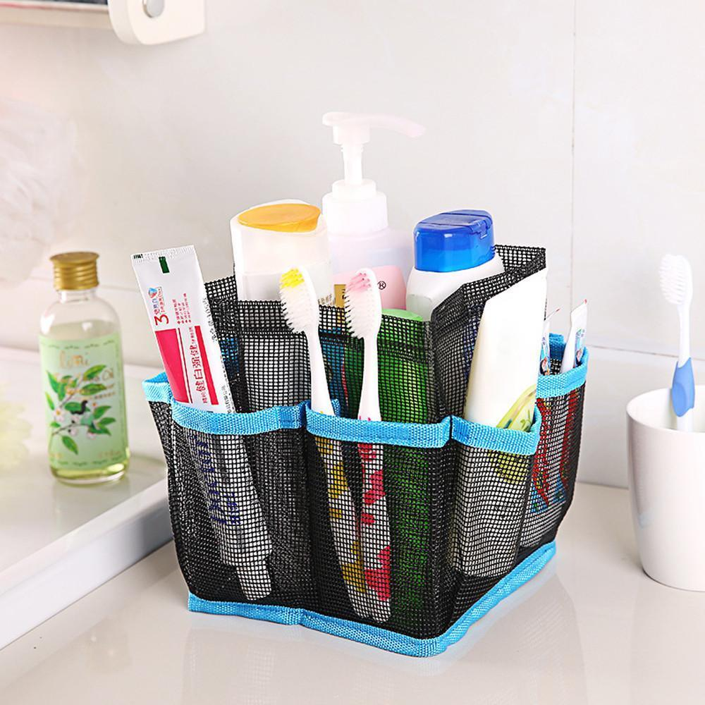 Hanging Mesh Toiletry Caddy Organizer Home Accessories Loom Rack Blue