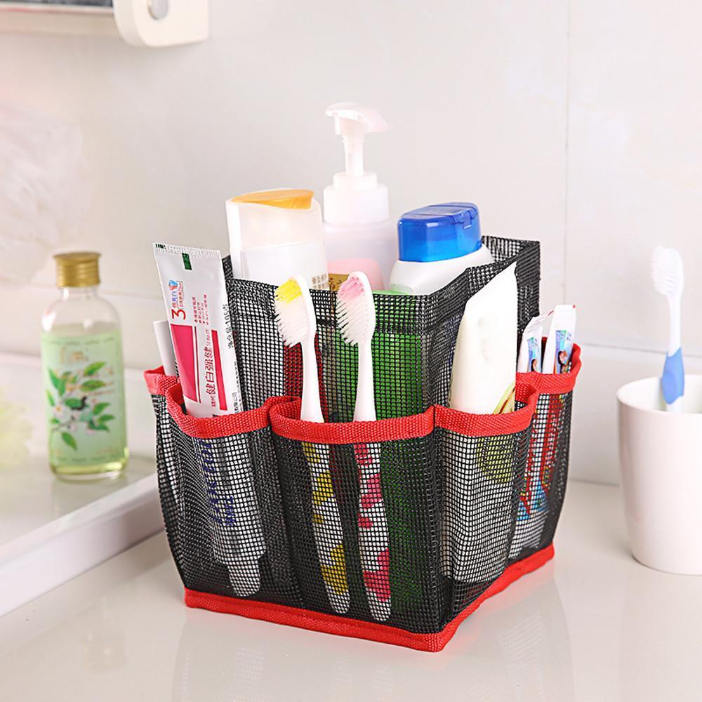 Hanging Mesh Toiletry Caddy Organizer Home Accessories Loom Rack Red