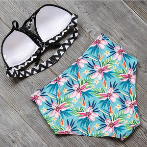 Hawaiian Floral High Waisted Bikini Swimsuits 2019 Loom Rack