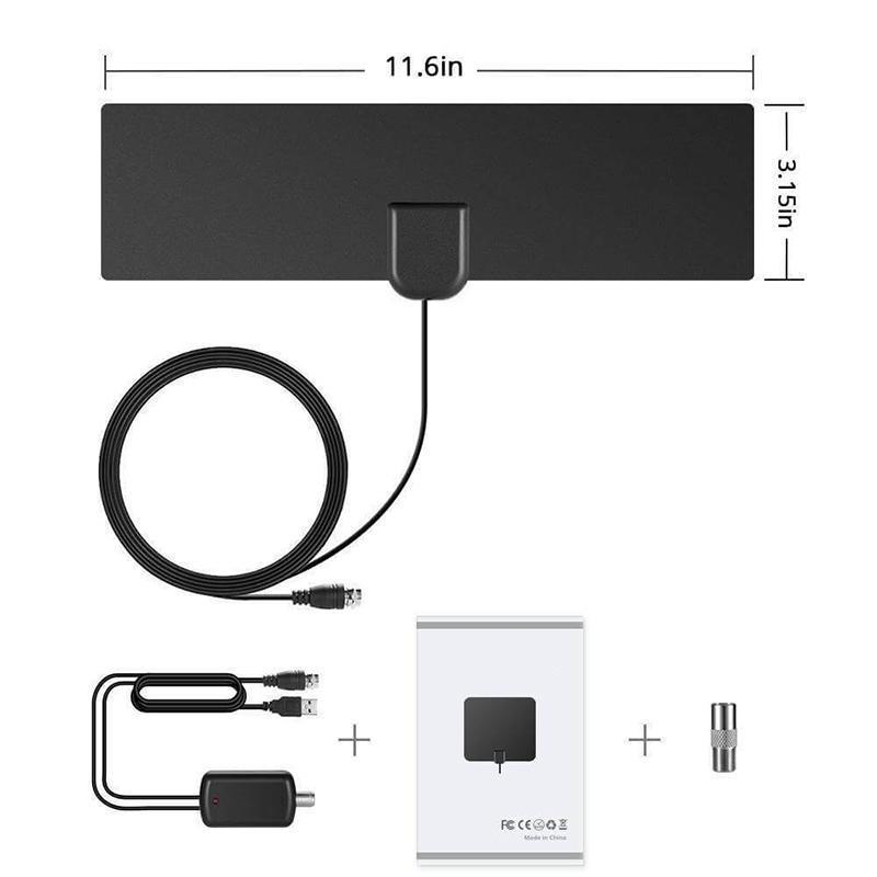 HDTV Antenna with Amplifier Signal Booster Indoor TV Accessories Loom Rack