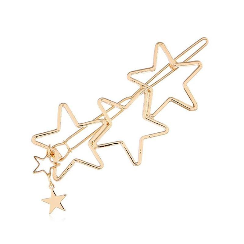 Hearts Stars Metal Hair Clips HairClips Loom Rack Star - Gold