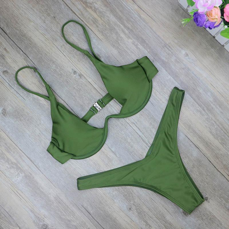High Cut Brazilian Bikini Swimsuits 2019 Loom Rack Green S