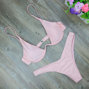 High Cut Brazilian Bikini Swimsuits 2019 Loom Rack Pink S