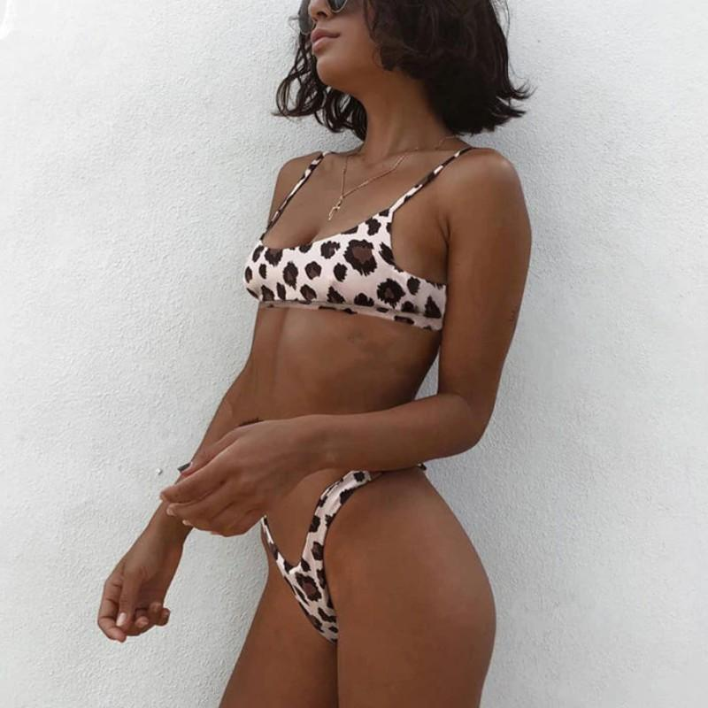 High Cut Push Up Leopard Bikinis Swimsuits 2019 Loom Rack White S
