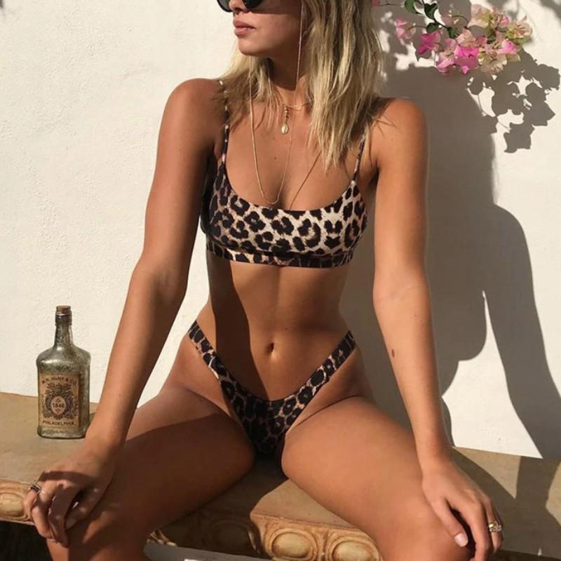 High Cut Push Up Leopard Bikinis Swimwear 2019 AF1335 / S