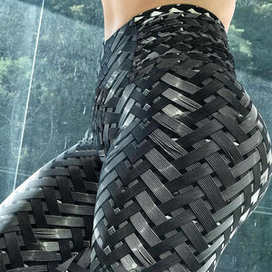 High Waist 3D Iron Armor Bionic Weave Print Leggings Leggings Loom Rack S