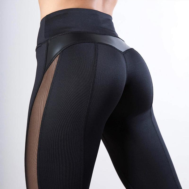 High Waist Hearth Shaped PU Leather Mesh Conture Push Up Leggings Leggings Loom Rack