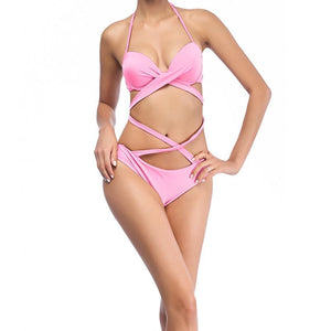 High Waisted Bandage Wrap Bikini Swimsuits 2019 Loom Rack Pink S