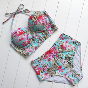 High Waisted Retro Floral Bikini Set Swimsuits 2019 Loom Rack Blue S