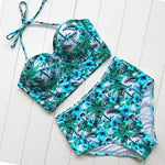 High Waisted Retro Floral Bikini Set Swimsuits 2019 Loom Rack Green S