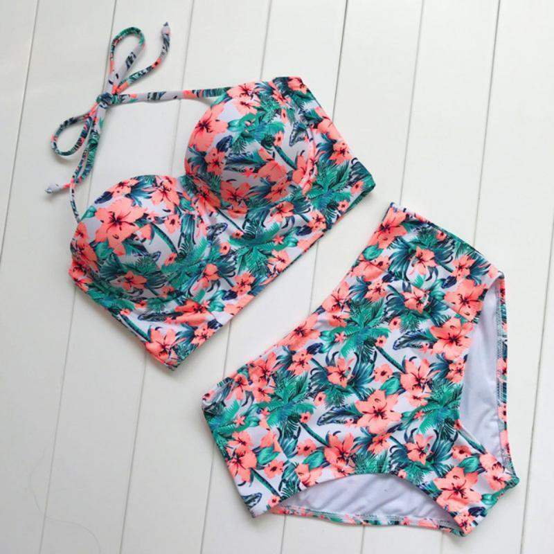 High Waisted Retro Floral Bikini Set Swimsuits 2019 Loom Rack Orange S