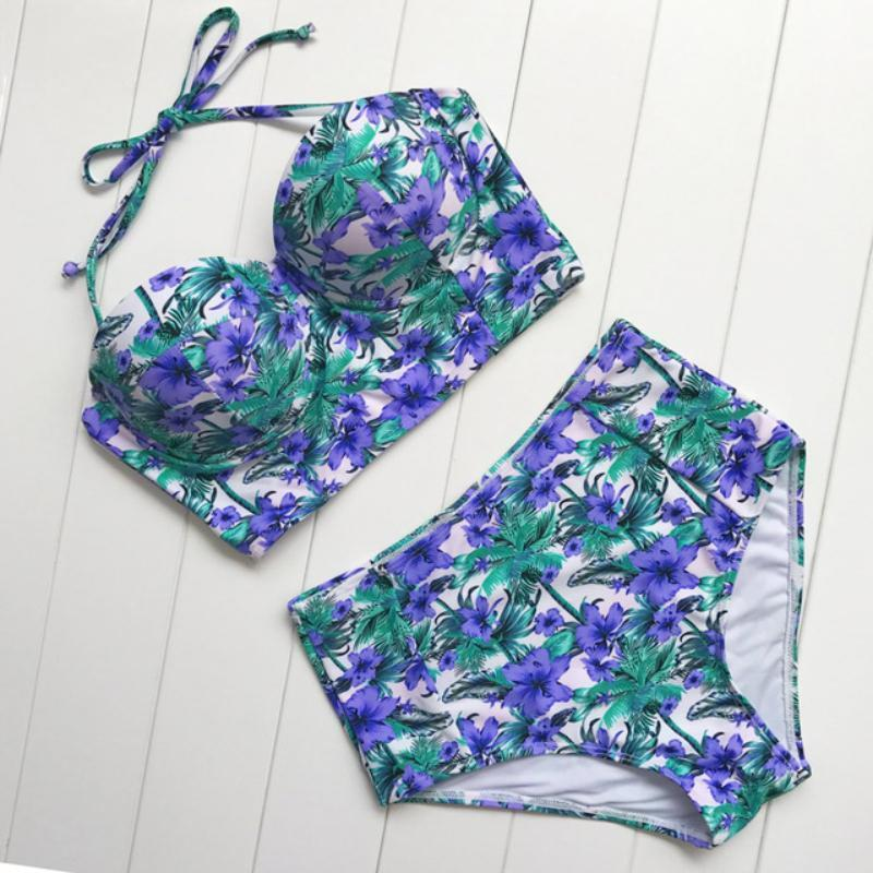High Waisted Retro Floral Bikini Set Swimsuits 2019 Loom Rack Purple S