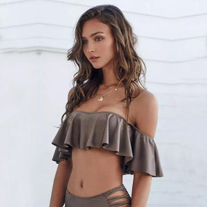 High Waisted Strappy Bandeau Bikini Swimsuits 2019 Loom Rack