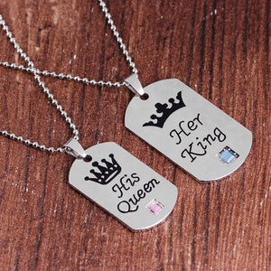 His Queen Her King Tag Necklaces Necklaces Loom Rack