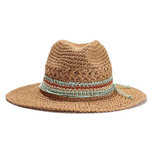 Jazz Handwoven Straw Travel Hat Sun Hats Loom Rack