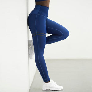 Kickass High Waist Striped Thigh Leggings Leggings Loom Rack Blue S