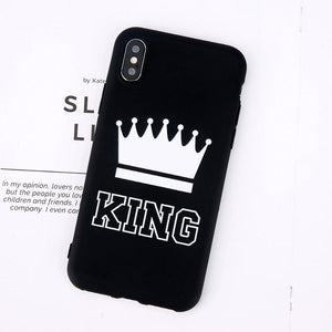 King Queen Crown iPhone Case - For iPhone X / XR/ XS Max / SE / 5C / 5S / 6 / 6 Plus / 6S / 7 / 8 Plus Phone Cases Loom Rack Black King For iPhone X
