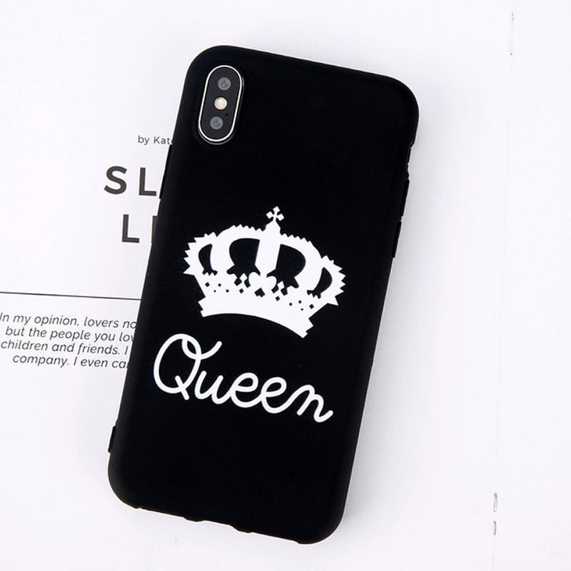 King Queen Crown iPhone Case - For iPhone X / XR/ XS Max / SE / 5C / 5S / 6 / 6 Plus / 6S / 7 / 8 Plus Phone Cases Loom Rack Black Queen For iPhone X