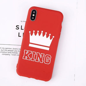 King Queen Crown iPhone Case - For iPhone X / XR/ XS Max / SE / 5C / 5S / 6 / 6 Plus / 6S / 7 / 8 Plus Phone Cases Loom Rack Red King For iPhone X