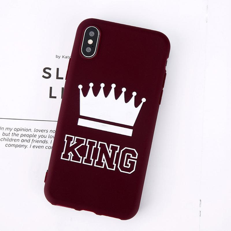 King Queen Crown iPhone Case - For iPhone X / XR/ XS Max / SE / 5C / 5S / 6 / 6 Plus / 6S / 7 / 8 Plus Phone Cases Loom Rack Wine Red King For iPhone X