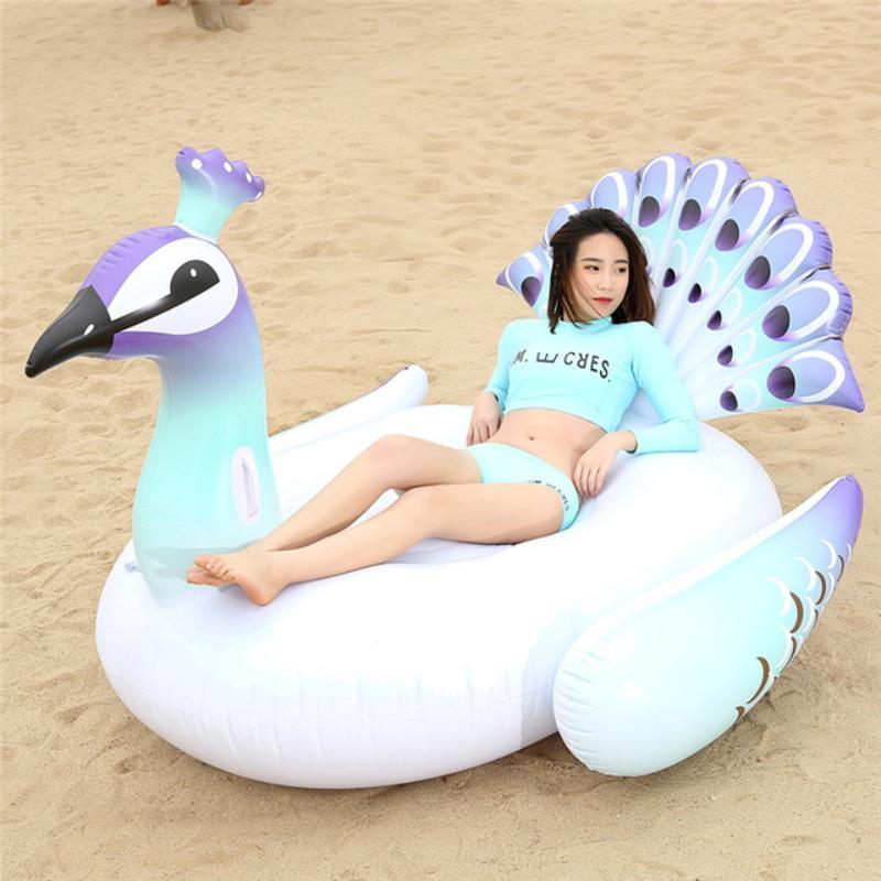 Large Flamingo, Peacock & Swan Pool Floats Swimming Rings Loom Rack White/Purple Peacock