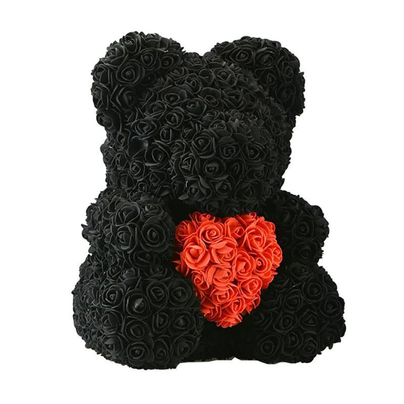 LE PETIT Rose Teddy Bear with Heart Home Accessories Black-Red (16 inc/40 cm)
