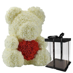 LE PETIT Rose Teddy Bear with Heart Home Accessories Cream-Red with Box (16 inc/40 cm)