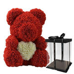 LE PETIT Rose Teddy Bear with Heart Home Accessories Red-White with Box (16 inc/40 cm)
