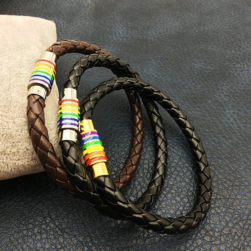 Leather Rainbow Pride Bracelet Bracelets Loom Rack