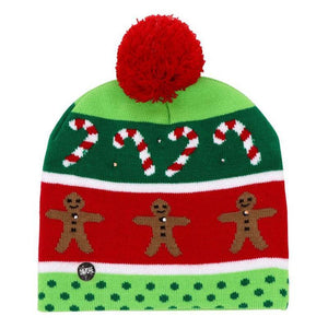 LED Christmas Hat Beanie Christmas Accessories Loom Rack Green