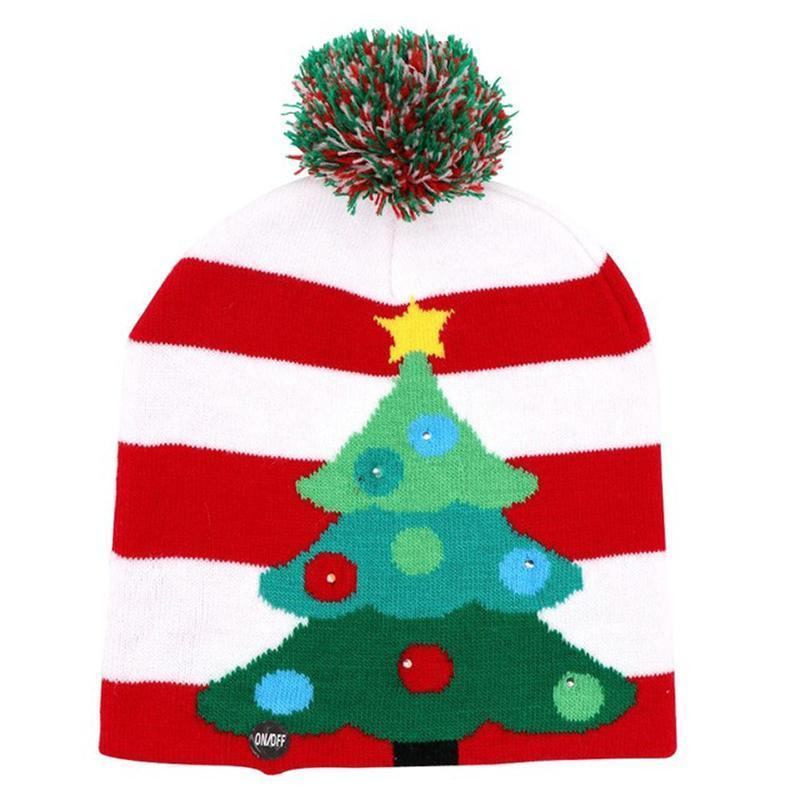 LED Christmas Hat Beanie Christmas Accessories Loom Rack White