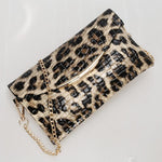 Leopard Alligator Pattern Clutch Evening Bags Loom Rack