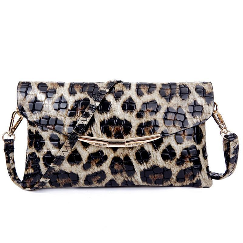 Leopard Alligator Pattern Clutch Evening Bags Loom Rack Leopard