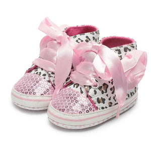 Leopard Sequin Infant Girl Shoes Baby Shoes Loom Rack Pink 0-6 Months