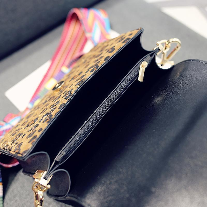 Leopard Snakeskin Crossbody Flap Bag with Multicolor Strap Cross Body Bags Loom Rack
