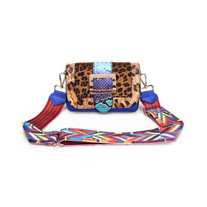 Leopard Snakeskin Crossbody Flap Bag with Multicolor Strap Cross Body Bags Loom Rack Leopard: Blue Small