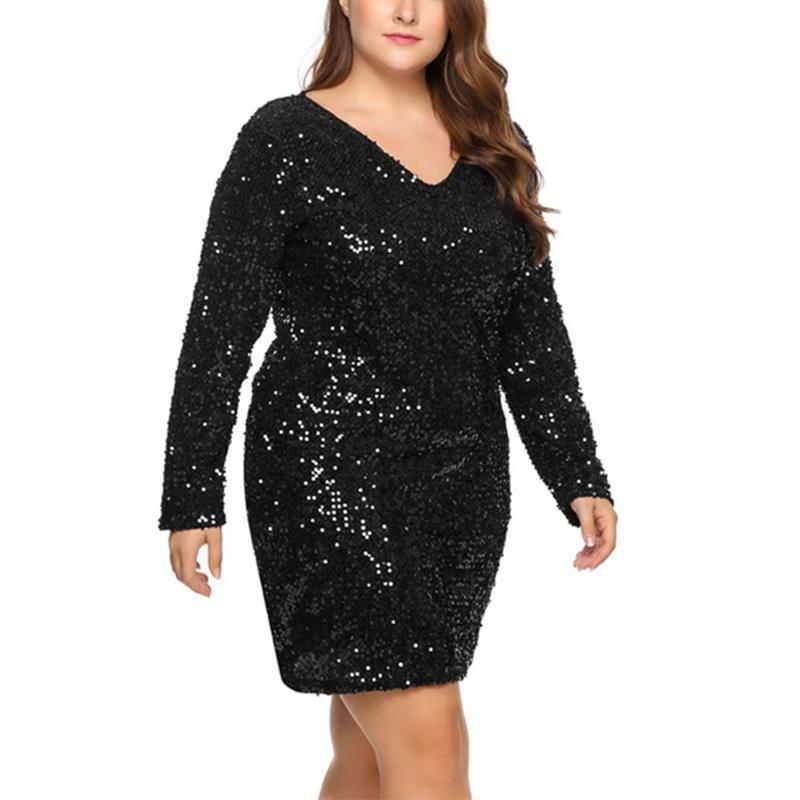 Long Sleeve Plus Size Sequin Dress Girl's Dresses Loom Rack