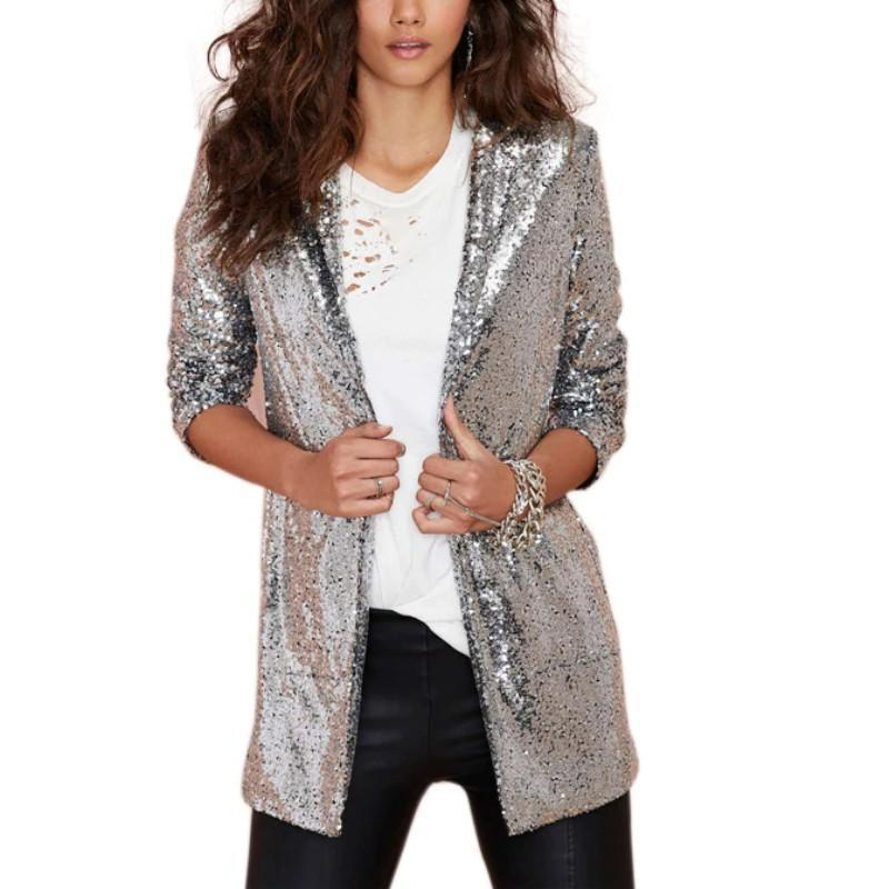 Long Sleeve Sequin Blazer Jackets Loom Rack S