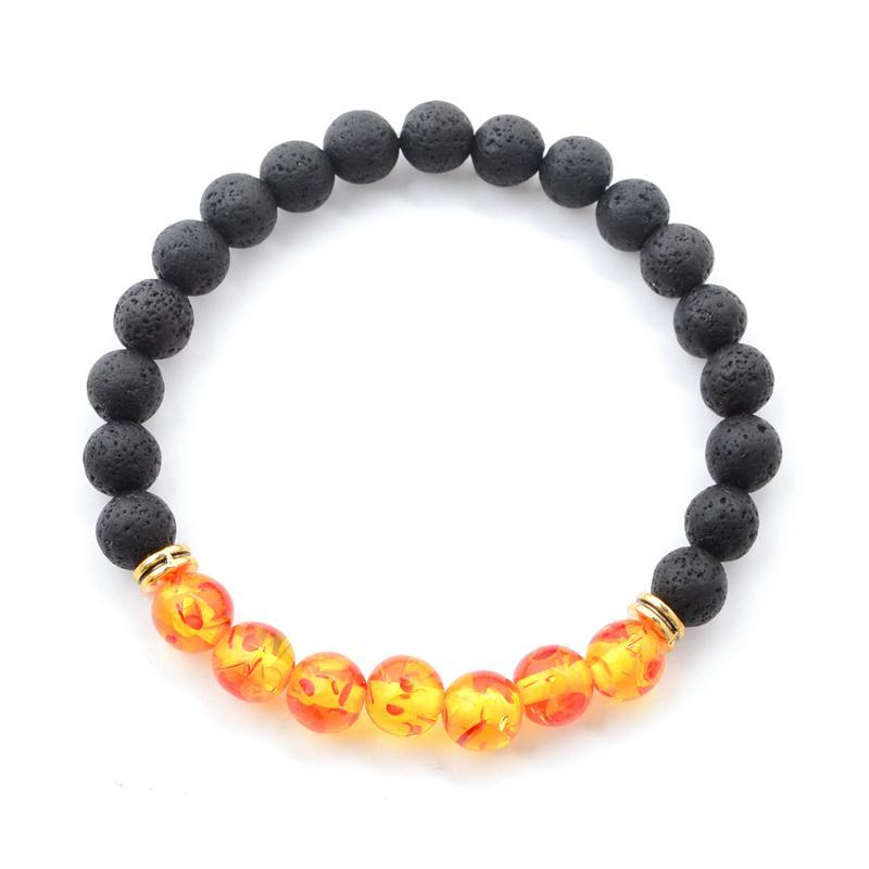 loomrack 7 Chakras Healing Bracelet with Natural Lava Beads Strand Bracelets Yellow