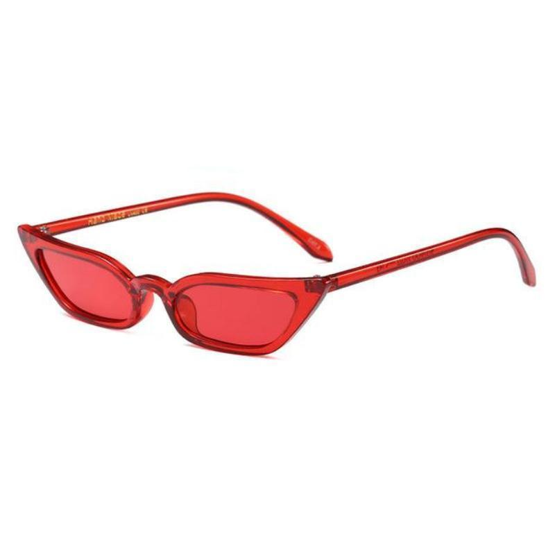 loomrack 90s Small Rectangular Pointy Sunglasses Sunglasses Red