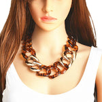 loomrack Acrylic Link Chain Leopard Choker Necklace Necklaces