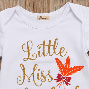 loomrack Baby Girl Thanksgiving Tutu Onesie - Little Miss Thankful 3-Piece Set Baby Clothes