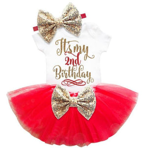 loomrack Baby Girl Tutu Birthday Outfit (1/2 Birthday, 1st Birthday, 2nd Birthday) Clothing Sets Red 24m