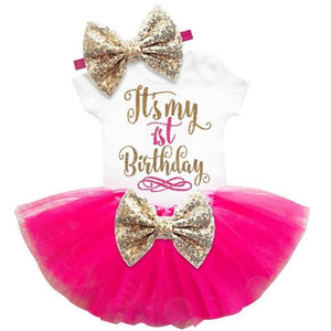 loomrack Baby Girl Tutu Birthday Outfit (1/2 Birthday, 1st Birthday, 2nd Birthday) Clothing Sets Rose 12m