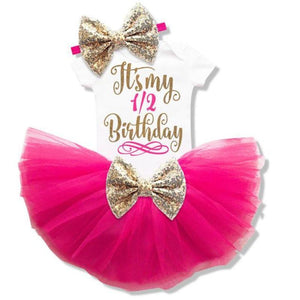 loomrack Baby Girl Tutu Birthday Outfit (1/2 Birthday, 1st Birthday, 2nd Birthday) Clothing Sets Rose 6m