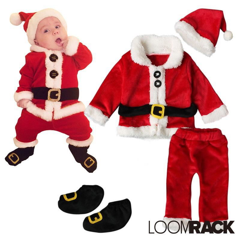 loomrack Baby Santa Suit - 4-Piece Set Christmas Clothes Red / 3M